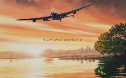 Avro Lancaster Home at Dawn Birthday card