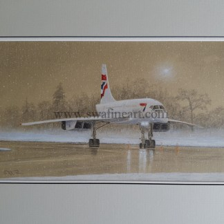 Concorde in the snow original pencil drawing
