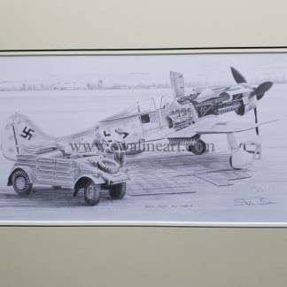 original pencil drawing Focke Wulf FW 190 D 9