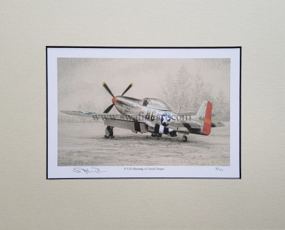 P 51 D Mustang of Chuck Yeager Pencil Drawing (Stephen Brown Aviation Artist)