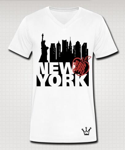 new york vneck white