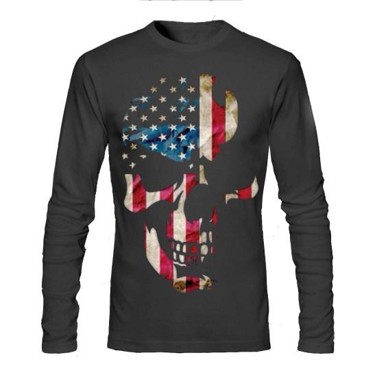 usa skull black full sleeve tee