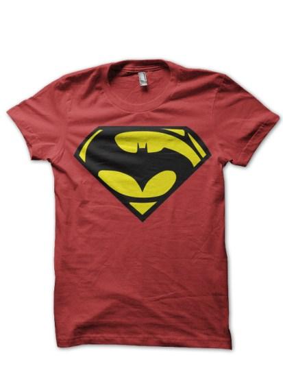 batman vs superman red tee