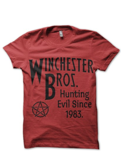 winchester bros red tee