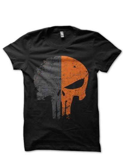 orange skull black tee