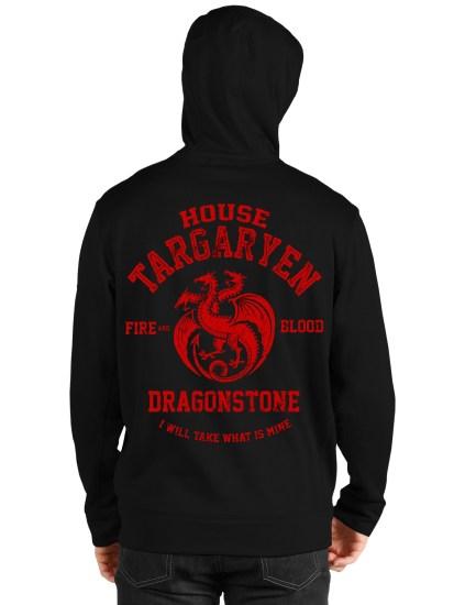house targaryen black hoodie back
