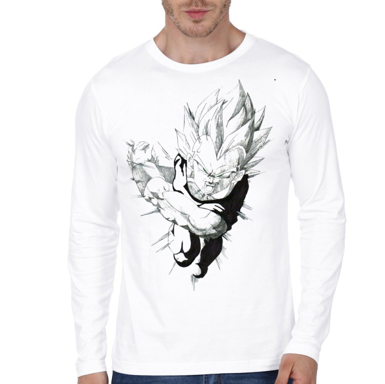 vegeta white full sleeve tee 1