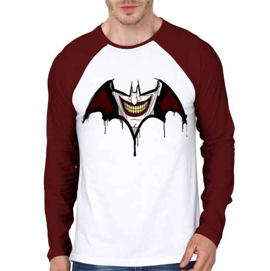 smile of joker maroon raglan tee