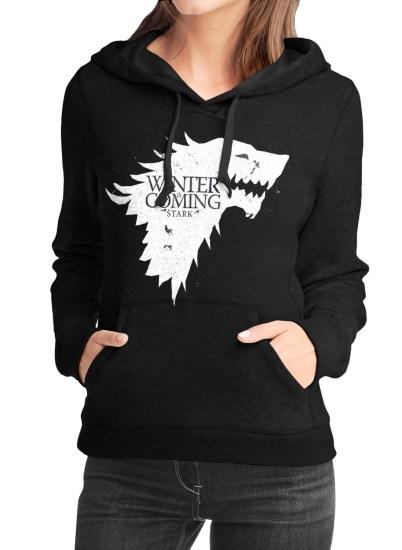 winter is coming girls black hoodie