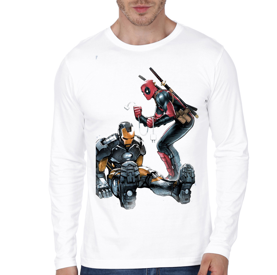 naughty deadpool white tee