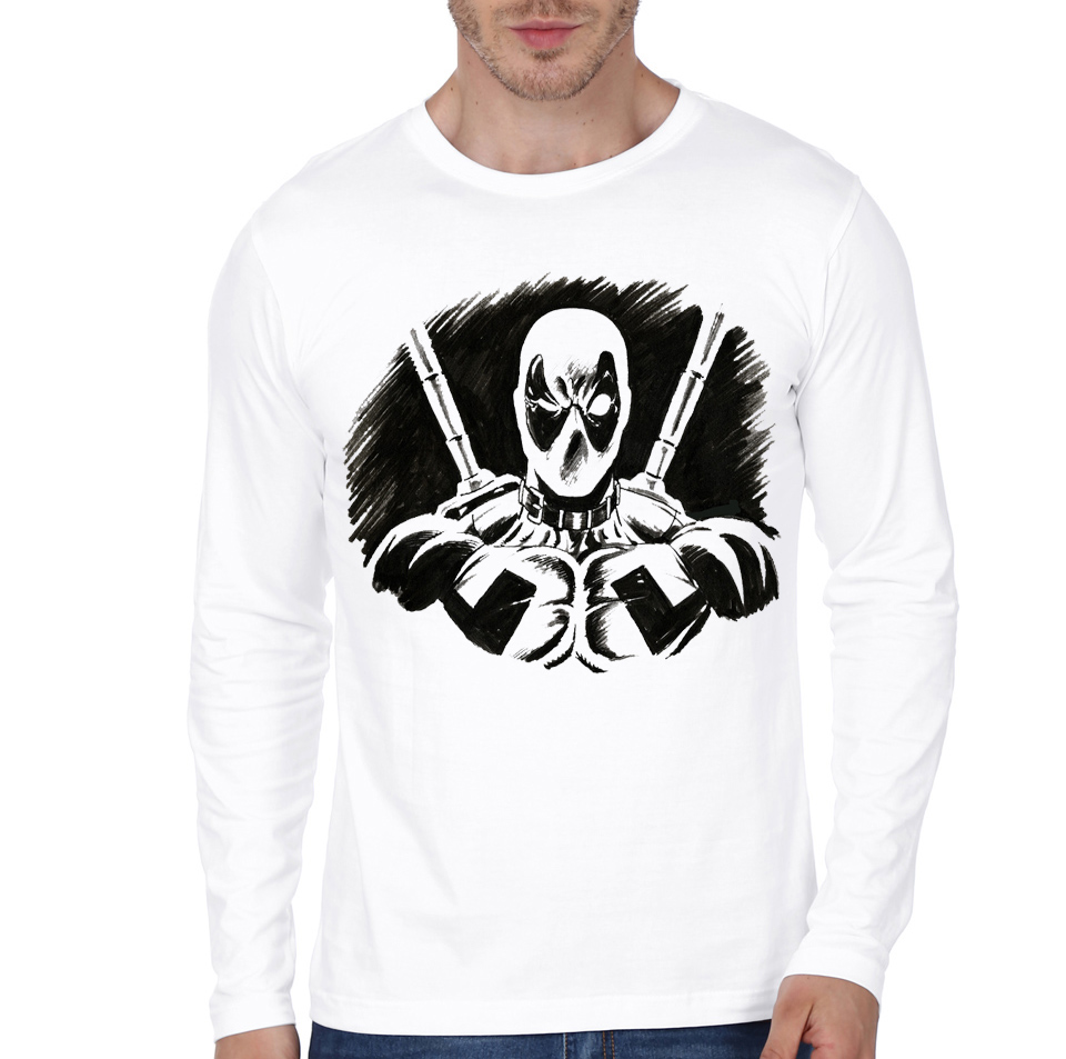 deadpool white full sleeve tee
