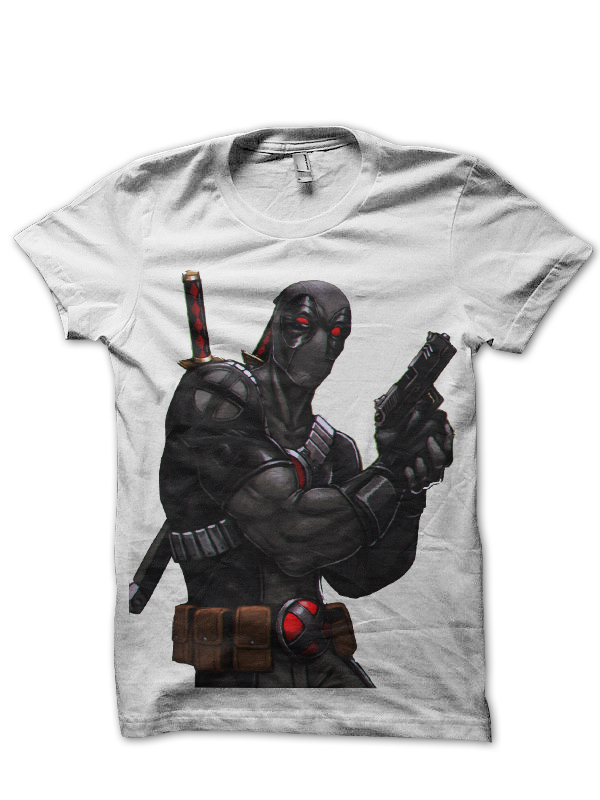 grey deadpool white tee
