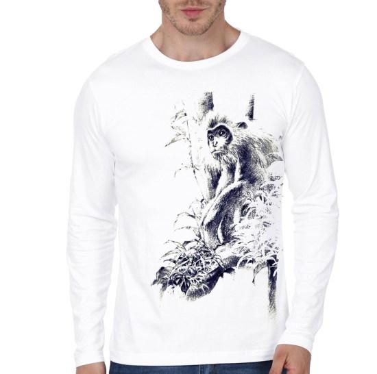 langur white full sleeve t-shirt