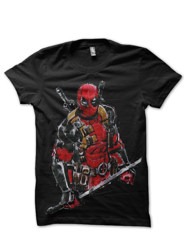 raw deadpool black tee