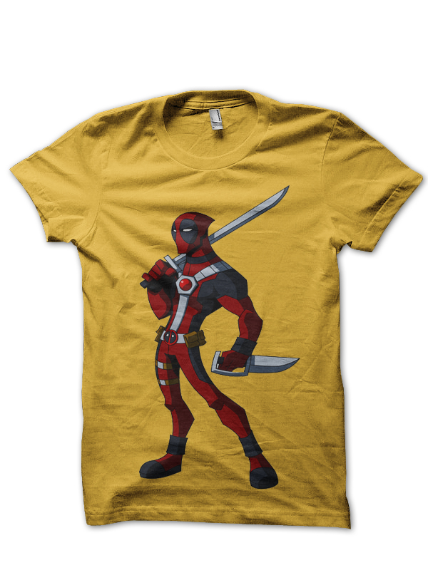 skinny deadpool yellow tee