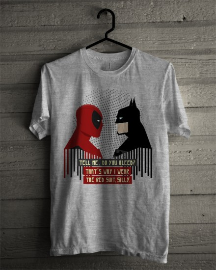 batman v deadpool grey tshirt