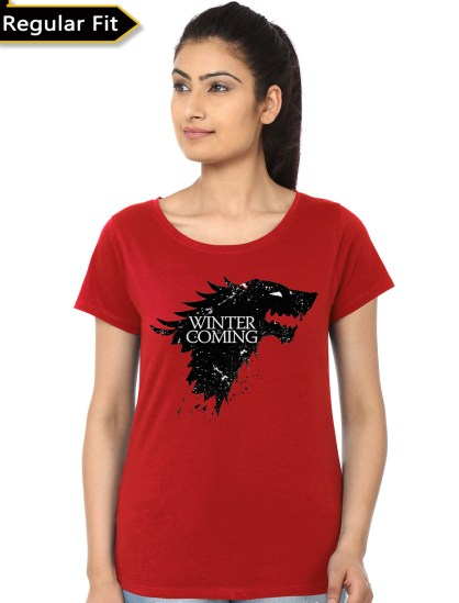 winter is coming red girls t-shirt