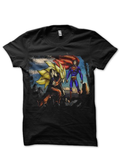 Goku vs Superman Black T-Shirt