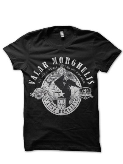 valar morghulis black t-shirt