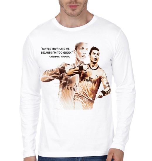 cr7 white full sleeve t-shirt