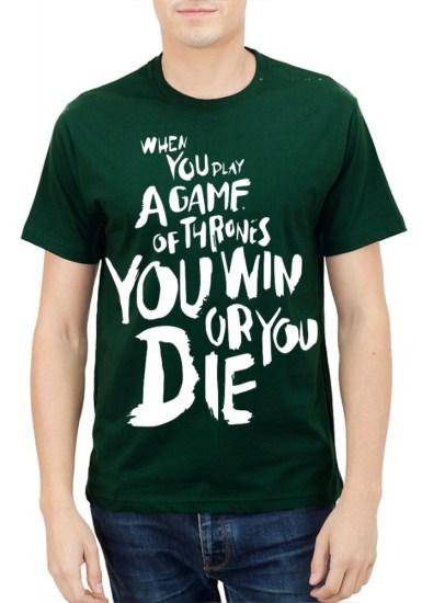 win or die dark green tee