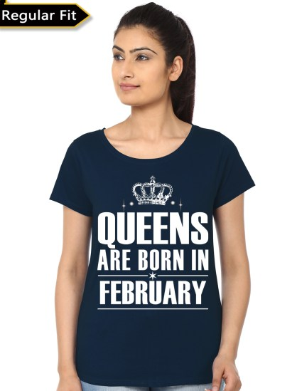 queens are born in february girls black t-shirt