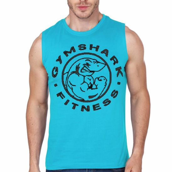 gym shark light blue vest