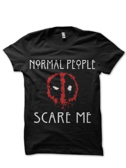 normal people scare me deadpool black t-shirt