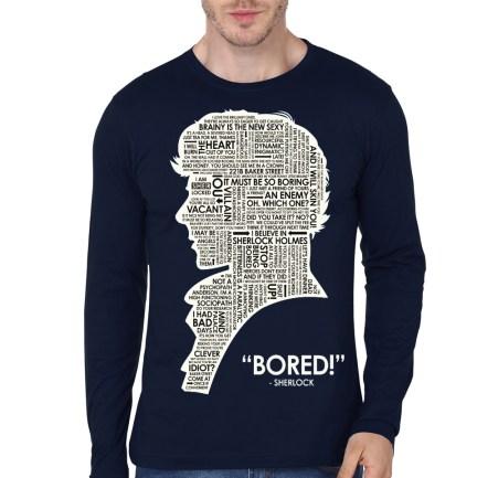 sherlock holmes bored navy blue full sleeve t-shirt