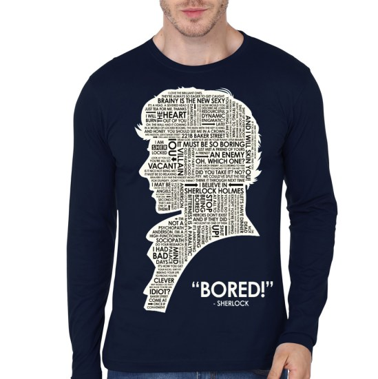 sherlock holmes bored navy blue full sleeve t-shirt