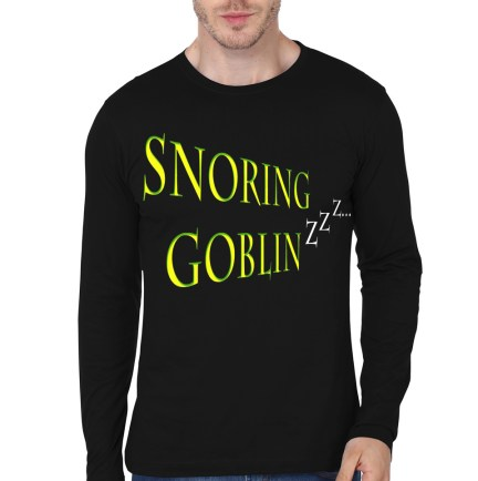 snoring goblin black full sleeve tee