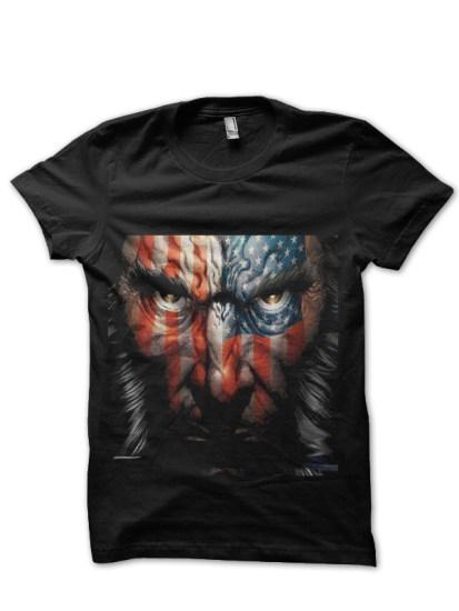 american wolvwrine black tshirt