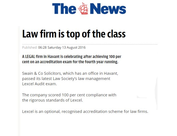 Swain & Co Solicitors were in the News