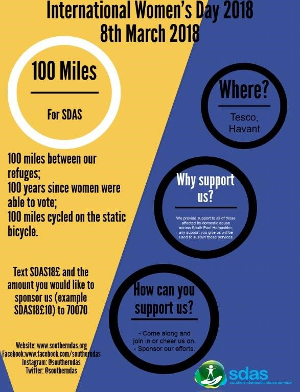 Southern Domestic Abuse Service | 100 Miles - Charity Event | Swain & Co Solicitors