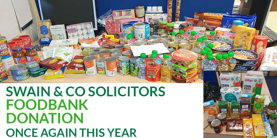 Swain & Co Solicitors foodbank donation once again this year