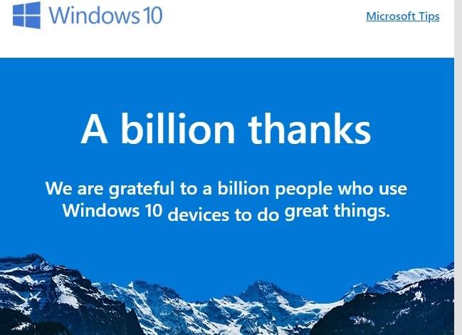 رسمياً الويندوز 10 يصل الى مليار مرة تثبيت حول العالم
