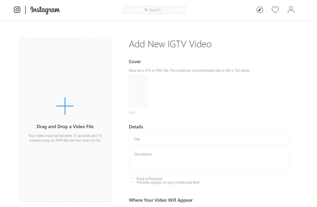 كيف ترفع مقاطع فيديو الى تطبيق IGTV انستجرام من متصفح الويب 1