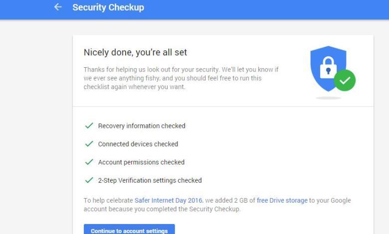 افحص حسابك على جوجل في دقيقة واربح 2 جيجا مجانا في خدمة درايف السحابية 6