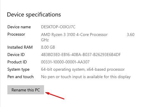 كيف تغير اسم جهاز الكومبيوتر في الويندوز 10 4