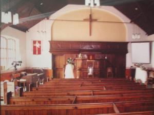 Inside the church building, in more recent years, before the pews were removed