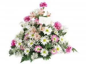 White and pink floral arrangement - Swanborough Funerals