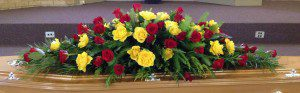 Red and Yellow Funeral Flowers - Swanborough Funerals