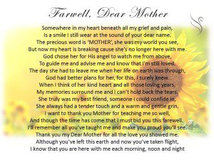 Funeral Poem Farewell Mother