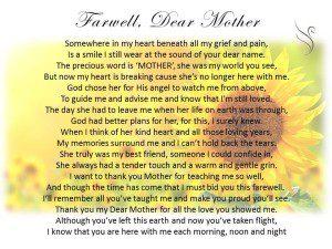 Funeral Poem Farewell Mother - Swanborough Funerals