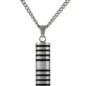 Large Striped Cylinder Ash Pendant