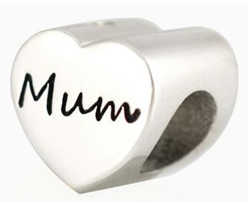 Mum Heart Tribute Bead Sterling Silver