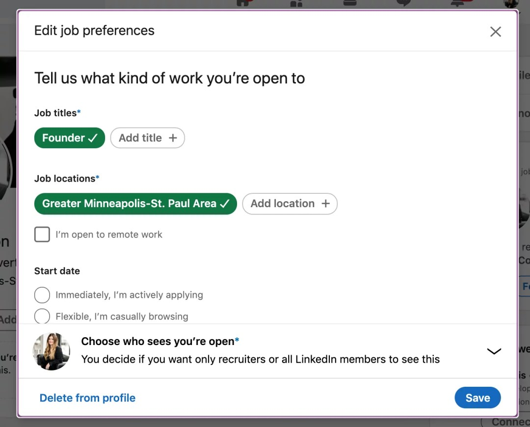 screenshot of linkedin edit job preferences show recruiters you are open