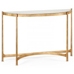 Gold Glass Sofa Table Sectional Dallas Fort Worth French Demilune Console Swanky Interiors