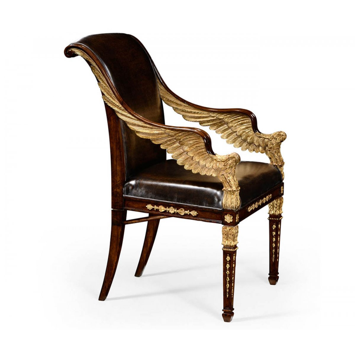 chair designer charles dining seat covers spotlight gilded leather armchair swanky interiors
