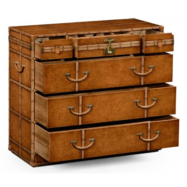 Leather Travel Trunk with Drawers